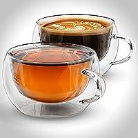 Tazze Per Caffè o Tè, a doppia parete in vetro, 200ml, Set di 2tazze da tè, isolante, cinese