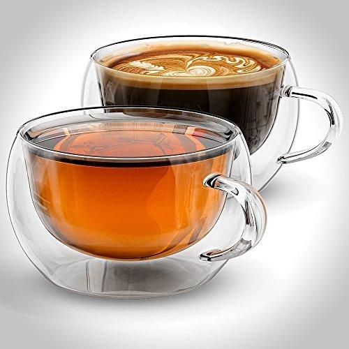 Tazze Per Caffè o Tè, a doppia parete in vetro,