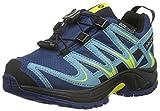 Salomon XA Pro 3D CSWP, Chaussures de Trail Mixte Enfant, Bleu (Midnight Blue/Blue Gum/Corona Yellow), 28 EU