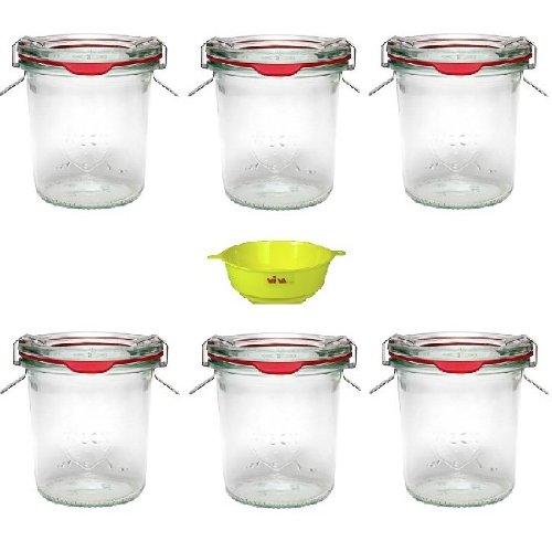 6 x kleines Weckglas/Einmachglas 140 ml mit Deckel in Sturzform, leeres Rundrandglas zum Einkochen - als Marmeladenglas, Dessertglas (inkl. Klammern, Ringen & Trichter)