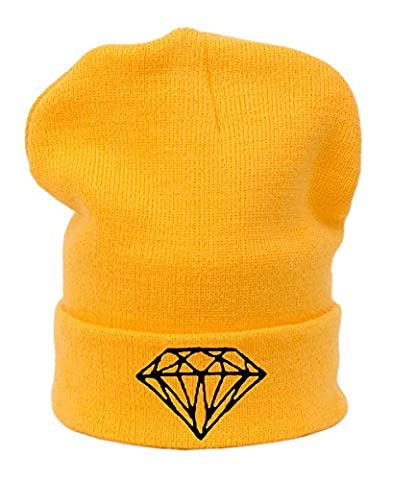 Winter Beanie Hat Men Women Oversized Baggy Hats Warm Cap Easy ,Must Have ,Swag, Trill (Diamond Yellow )