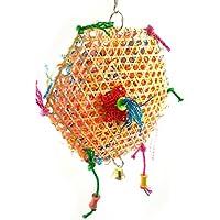 Giochi d'imitazione Uccello giocattolo da masticare Arredamento e forniture scuola prima infanzia corda di cotone durevole perline colorate pappagallo arrampicata e perline giocattolo interattivo con ganci piccolo animale domestico gioca campane giocattolo pappagallo forniture