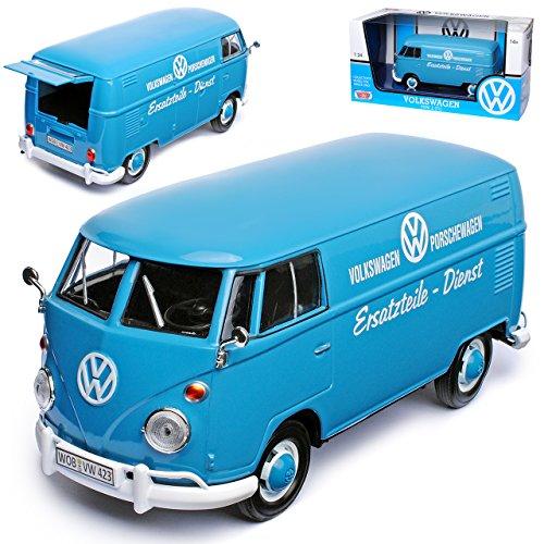alles-meine GmbH VW Volkswagen T1 Blau Kasten Transporter Porsche Dienst Samba Bully Bus 1950-1967 1/24 Motormax Modell Auto