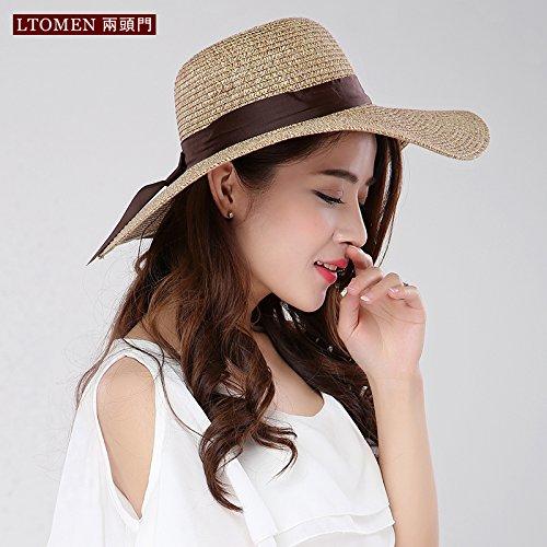 La primavera e l'estate erba-Ribbon Stetson sunscreen di cappelli di paglia tour hat cappuccio pieghevole, M (56-58cm) , Deep Color
