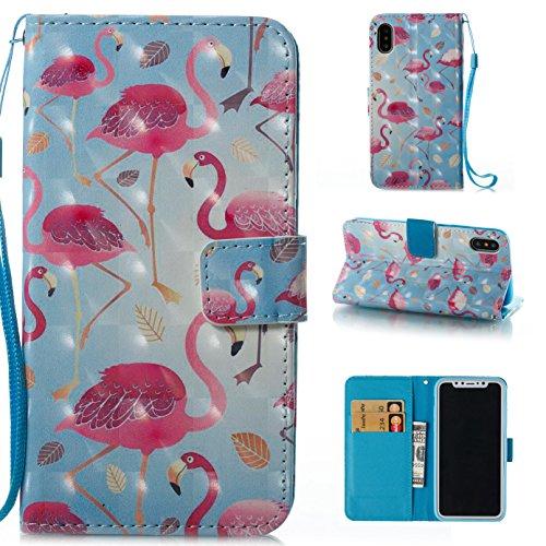 Funyye Custodia Per iPhone X 5.8 Cover Pelle Portafoglio Libro Copertura con [Gratis Pellicola Protettiva] Supporto Stand Porta Carte Chiusura Magnetica protettivo Caso Per Apple iPhone X 5.8 Flip W Grande Flamingo