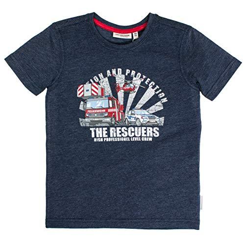 SALT AND PEPPER Jungen Feuerwehr Rescuers T-Shirt, Blau (Dark Blue Melange 492), 92 (Salz Des Lebens T-shirt)