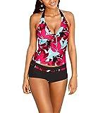 CuOmix Tankini delle Donne Bikini a Fascia di Impostare due Pezzi Costume da Bagno Top sportivo Beachwear (XL)