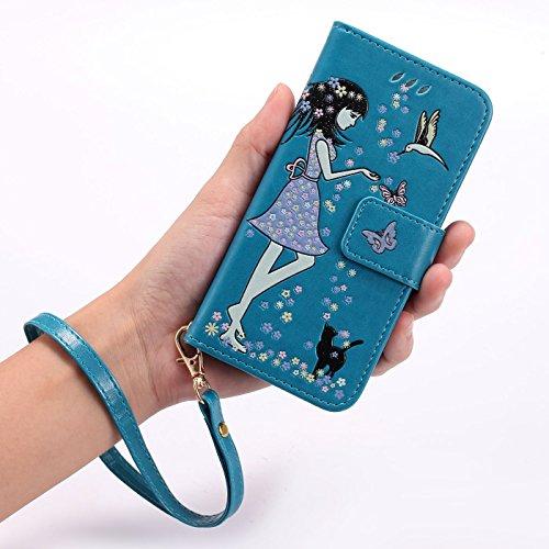 TOYYM Hülle für iPhone 7 4,7Zoll,iPhone 7 Lederhülle,Leuchtende Mädchen und Katze Muster Design PU Leder Flip Cover Wallet Brieftasche mit Standfunktion Kartenfächer Magnetverschluss,Bookstyle Luminou Blau