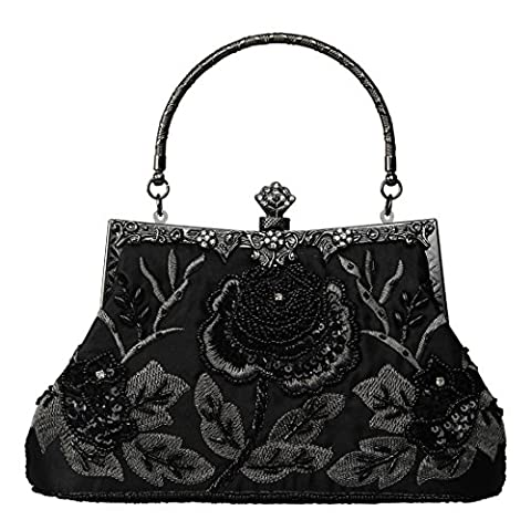ADOO Vintage Seed Beaded Rose Wedding Bag Party Clutch Prom Evening Handbag