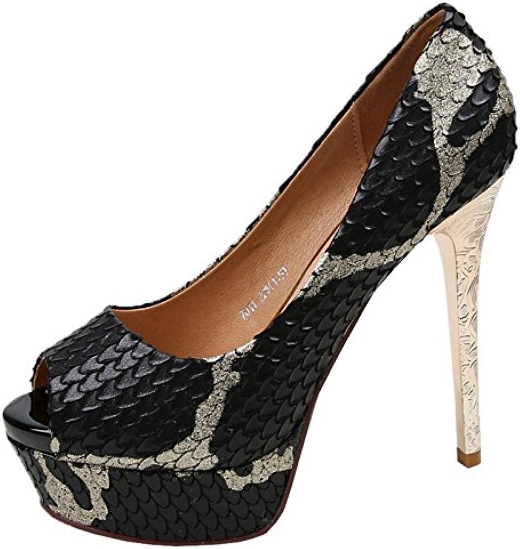 2bd3602f34d4 GTVERNH Women s shoes Summer 13Cm Super High Heel Heel Heel Waterproof Platform  Fish Mouth Single Shoes Female Sandals Spring... B07DCCJKKY Parent 18bd7d