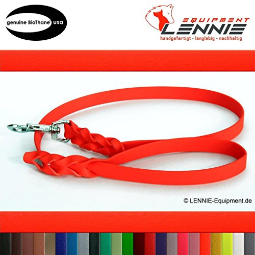 Führleine aus 16 mm breiter BioThane® / 0,3 - 3 Meter [3 m] / 25 Farben [Neon-Orange] / geflochten