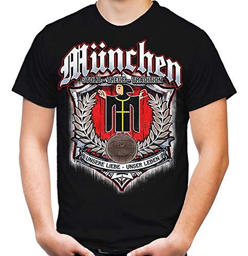 Für Immer München Männer und Herren T-Shirt   Sport Fussball Stadt Fan (L, Schwarz Druck: Bunt)