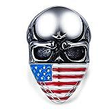 Beydodo Anello Teschio Argento Uomo Taglia 22 Bandierina Americana del Cranio Anello Titanio Puro Uomo