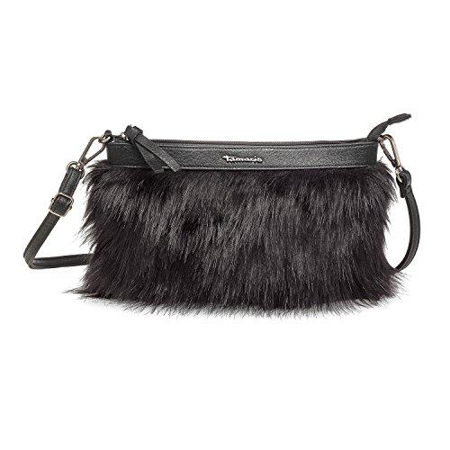 CHRISTIANE Damen Handtasche, Crossbody Bag Fake Fur, Umhängetasche, 30x17x2 cm (B x H x T), 2 Farben: blue comb. oder schwarz, Farbe:blau Tamaris
