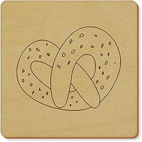 6 x 'Sweet Pretzel' 95mm x 3mm Square Wooden Coasters (CR00095671)