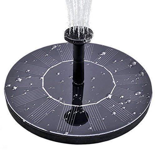 Minger Solar Springbrunnen, Solar Teichpumpe mit 1.4W Monokristalline Solar Panel freistehende Teich Solarpumpe mit 4 Düsen, Solar schwimmender Brunnen Wasserpumpe für Vogelbad Teich Pool Garten (Fern-panel)