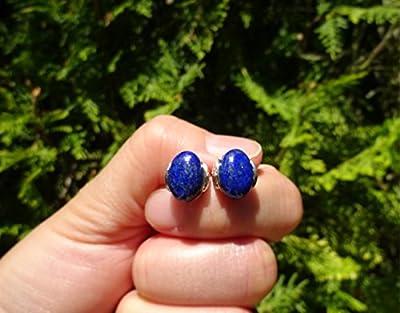 Boucles d'oreilles lapis lazuli en argent massif 925, boucles d'oreilles pierre naturelle