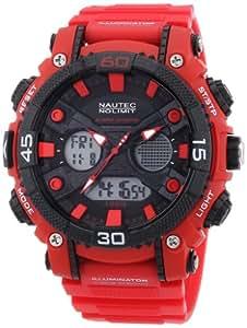 Nautec No Limit AK QZ-AD/PCRDPCBKBK-RD - Orologio da polso uomo, plastica, colore: rosso