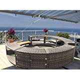 UK Leisure World New Black Poly Rattan Spa Surround Hot Tub Chic Modern Tropical Hardwood Outdoor (Grey)