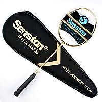 Senston N80 Grafite singolo di alta qualità Racchetta Badminton, in fibra di carbonio della racchetta di volano, volano Compreso Bag, Oro Colore