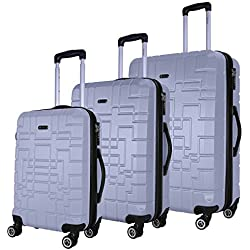 SHAIK Serie XANO Maletas De Viaje Set De 3 Piezas - TSA CASTILLO 45/78/124 Capacidad De Litros Cubierta Dura Y Flexible Equipaje De Mano Con Ruedas 360⁰ De Rotación (Plateado, 3 Piezas)