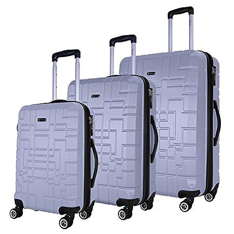 SHAIK® Serie XANO HKG Design Hartschalen Trolley, Koffer, Reisekoffer, in 3 Größen M / L / XL / Set 50/80/120 Liter, 4 Doppelrollen, TSA Schloss (Koffer Set, Silber)