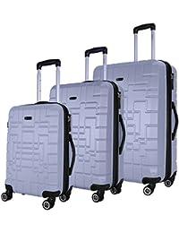 SHAIK Serie XANO Maletas De Viaje Set De 3 Piezas - Candado TSA 45/78/124 Capacidad De Litros Cubierta Dura Y Flexible Equipaje De Mano Con Ruedas 360⁰ De Rotación