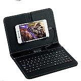 "DishyKooker General Wired Keyboard Flip Holster Case for Andriod Mobile Phone 4.8-6.0"" Black"