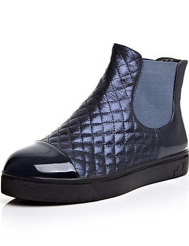 xzz/Damen Schuhe Patent Leder Plattform Fashion Stiefel/Bootie/Runde Spitze Stiefel Kleid/Casual Schwarz/Navy, dark blue-us8 / eu39 / uk6 / cn39 (Bootie Patent-plattform)