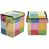 NIMKOS Multipurpose Square Shape Foldable Open Laundry Bag Basket with Handle for Clothes Storage (Multicolour)