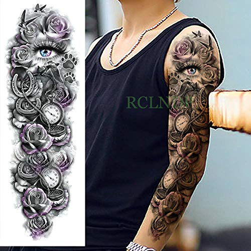 tzxdbh 3Pcs-Waterproof Temporary Tattoo Sticker Schädel Glocke Brief Rose Blume voller Arm Tatto Tattoo Ärmel groß für Männer Frauen 3Pcs-23 Alte Rose Fine China