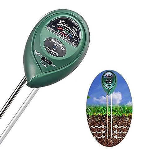 Neitu® 3en 1testeur de sol l'humidité Mètre, light/testeur de pH acidité, Digital Ground appareil de mesure Idéal pour jardin, Ferme, Pelouse, intérieur et extérieur (sans batterie Nécessaire)