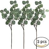 Amkun 3Stück künstliche Eukalyptusblättersprays in grün, 64,8cm hoch für Party Home Hochzeit Decor, Silver Dollar grün