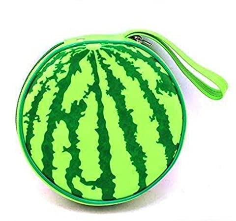 Formvan Green Watermelon Pattern Faux Leather Hand Strap 20 Pieces Capacity CD DVD Holder Bag