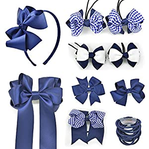 PrettyBoutique Set of 10 Girls Hair Accessories School Set - Bobbles Clips and Headbands (Navy)