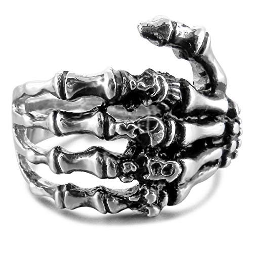 MunkiMix Edelstahl Ring Band Silber Ton Schwarz Totenkopf Schädel Hand Knochen Größe 75 (23.9) Herren