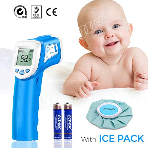 Termometro bambini digitale fronte, sovarcate termometro infrarossi medicale professionale multifunzione per bambini, adulti e oggetti blu (impacco di ghiaccio gratuito)