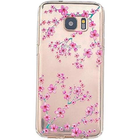 TKSHOP TPU Silicone Gel sottile per Samsung Galaxy S7 Edge Custodia Caso Case Cover Trasparente Ammortizzante Antiurto Bello Dipinto - Rosa pesca