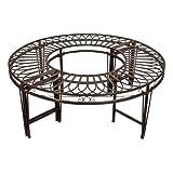 Design Toscano Rond-point Circulaire Banquette de Jardin, 119 cm, articles de ferronnerie, gris