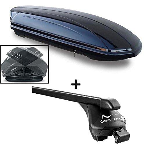 VDP Dachbox schwarz glänzend MAA 580 Duo Auto Dachkoffer beidseitig aufklappbar 580 Liter abschließbar + Relingträger Dachgepäckträger für aufliegende Reling im Set für BMW X3(F25) ab 2011 bis 100kg