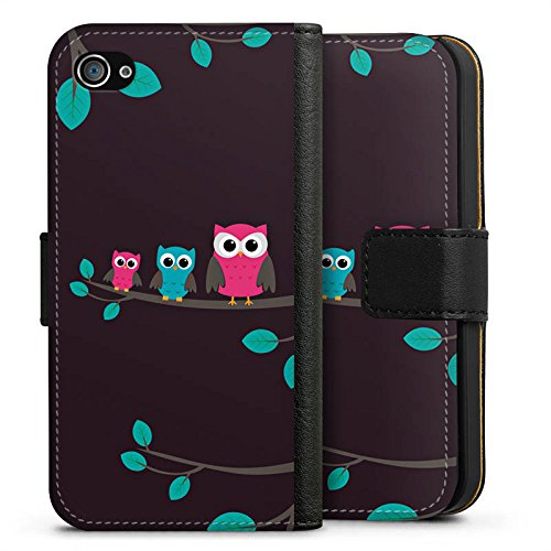 Apple iPhone X Silikon Hülle Case Schutzhülle Eulen Cute Wald Sideflip Tasche schwarz