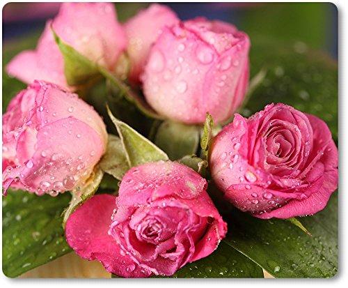 Mauspad / Mouse Pad aus Textil mit Rückseite aus Kautschuk rutschfest für alle Maustypen Motiv: Blumen der Liebe - rosa Rosen | 01