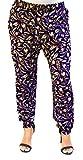 Damen Hose Haremshose Freizeithose Hose mit Muster Baumwolle Sommerhose (Marine 2)