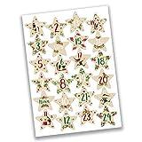 24 Autocollants avec numéro pour Calendrier de l'Avent Feuilles Étoiles et Baies Nr 56 - Autocollants - pour créer ou décorer...