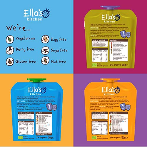 Ella's Kitchen Organic Veggie Meals Variety Pack, Weaning Stage 2, 7+ Months Baby Food, 130g Pouch (Pack of 18 Pouches)