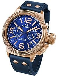 Reloj Cuarzo TW Steel Para Unisex Con  Azul Cronógrafo Y Azul Cuero CS63