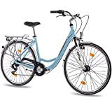"28"" Zoll LUXUS ALU CITY BIKE DAMENRAD FAHRRAD CHRISSON RELAXIA 1.0 mit 6 Gang SHIMANO light blau"