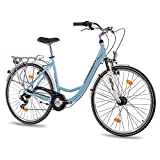 28' Zoll LUXUS ALU CITY BIKE DAMENRAD FAHRRAD CHRISSON RELAXIA 1.0 mit 6 Gang SHIMANO light blau