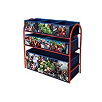 Marvel Avengers Toy Storage Unit Box Organiser Metal Multi Tray (2018 model) - Kids Bedroom Playroom Furniture