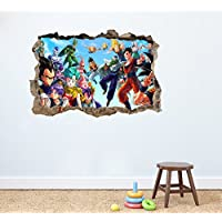 Dragon Ball Z redondo adhesivo de pared Home Decor Dormitorio Infantil Guardería Mural de Sala de juegos Adhesivo 75x 50cm Peel and Stick